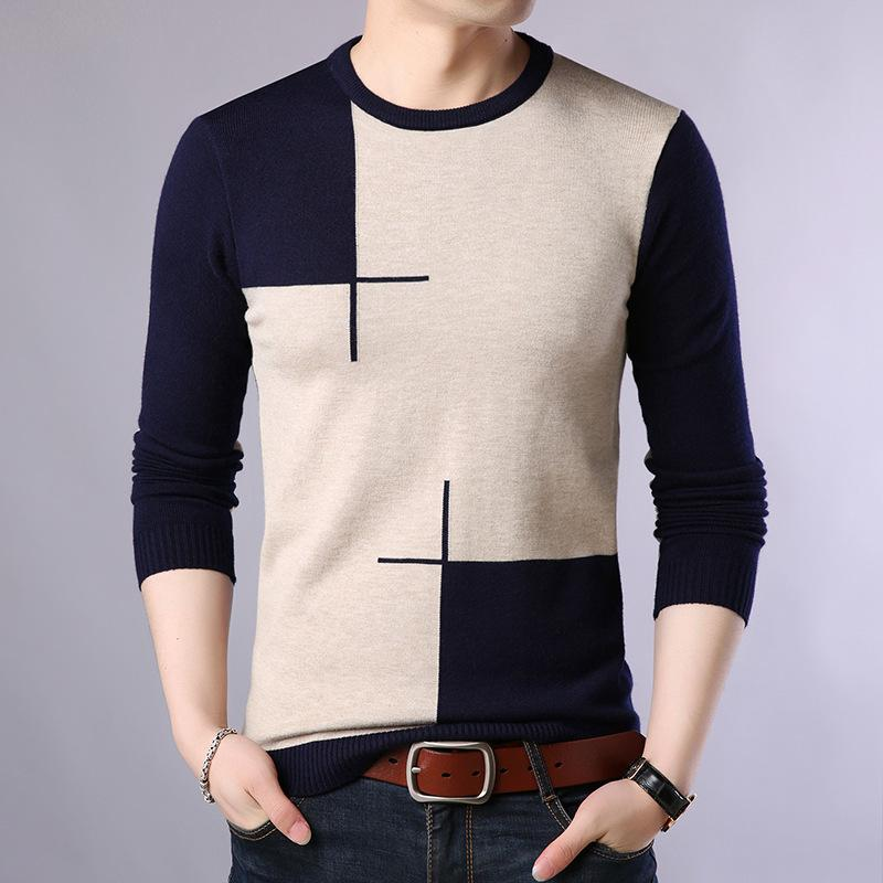 2019 Autumn beiläufigen Männer Pullover O-Ansatz Slim Fit Knittwear Männer Pullover Pullover Pullover Männer Pull Homme M-3XL LY191202