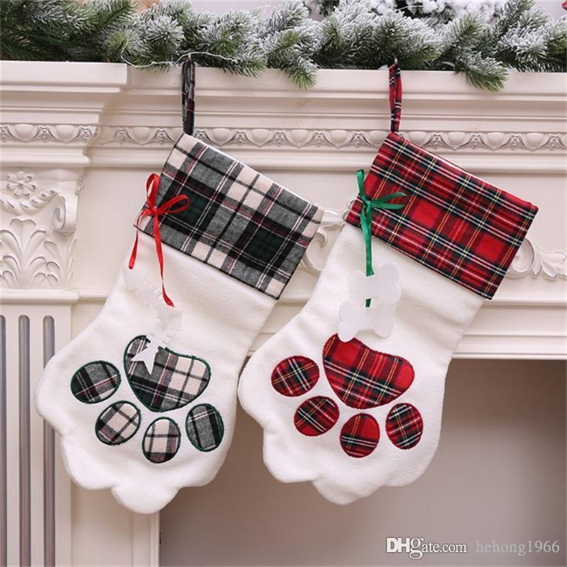 Titular New criativa Blanks manta Decor Cuff presente Dogs pata Forma Meias Plush Christmas Stocking dois tipos Party Supplies Hot Sale 15yh