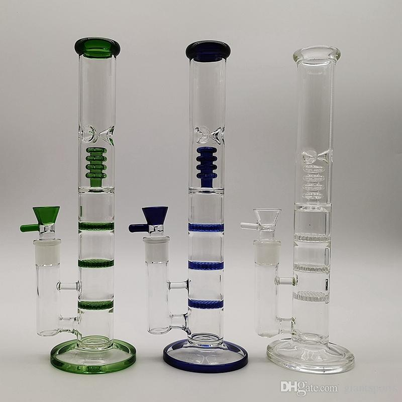 Straight Tube Clear Glass Bong Triple Honeycomb Water Pipes Birdcage Perc Dab Oil Rigs Glass Bongs For Smoking With Glass Bowls HR316