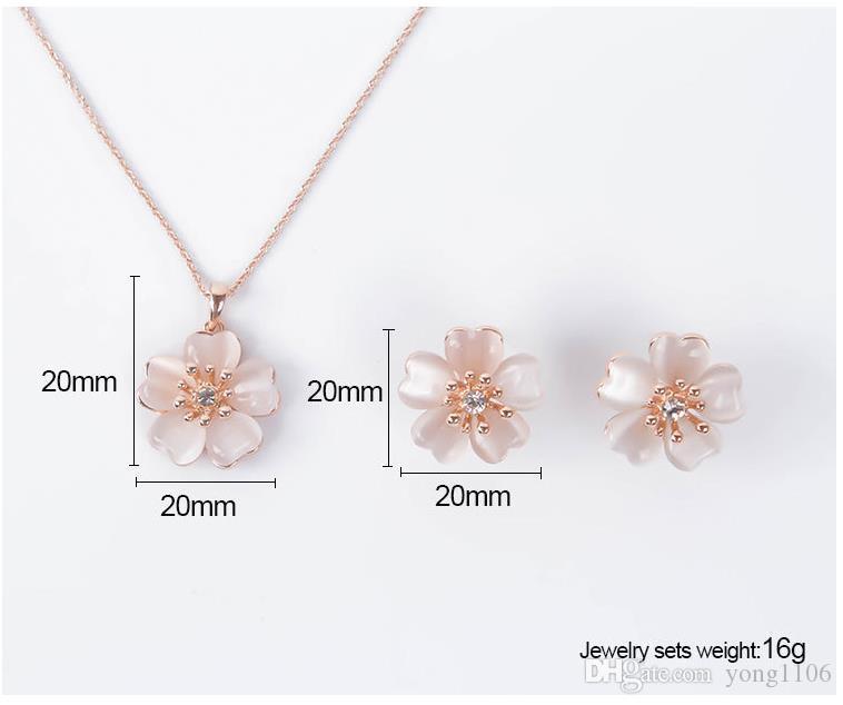 Tendencia de moda europea y americana accesorios de la novia creativa conjunto personalidad pequeña flor fresca aretes collar dos juegos de joyas