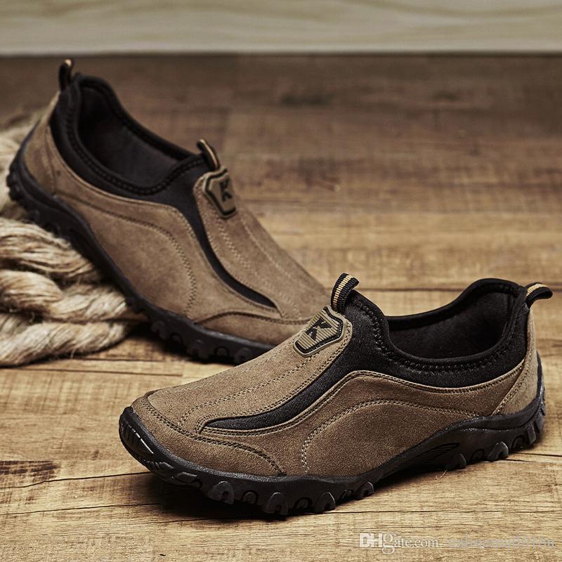 Caminhadas Sapatos Homens Sapatos de Trekking Ao Ar Livre Homens Outono Deslizamento Na Montanha Sapatos de Escalada Sapatos de Caça