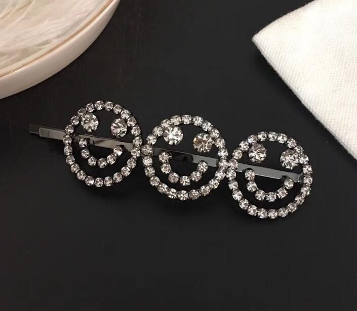 Bling Rhinestone Lucky Hair Clip Sweet Smile Face Letters Barrettes for Women Girls Luxury Crystal Hair Clips Accessories Top Quality