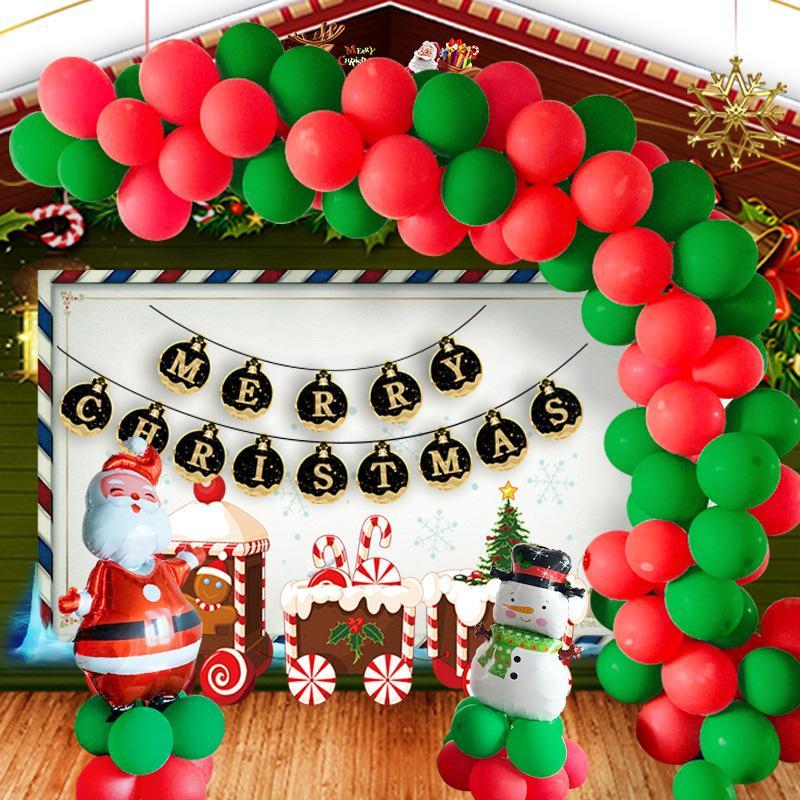 Natal ajustado balão de 10 polegadas Red Verde Xmas Latex dos desenhos animados Balão Papai Noel Boneco de neve folha de alumínio balão de hélio balões DBC VT1056