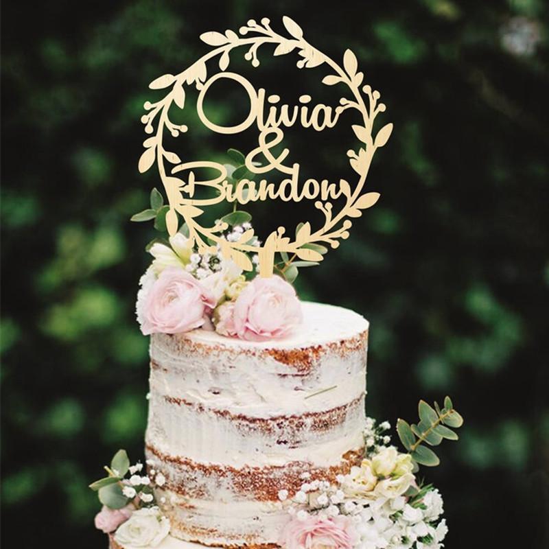 شخصية خشبية كعكة توبر اكليلا الزفاف كعكة توبر مخصص أسماء ريفي الزفاف الديكور البلد الديكور