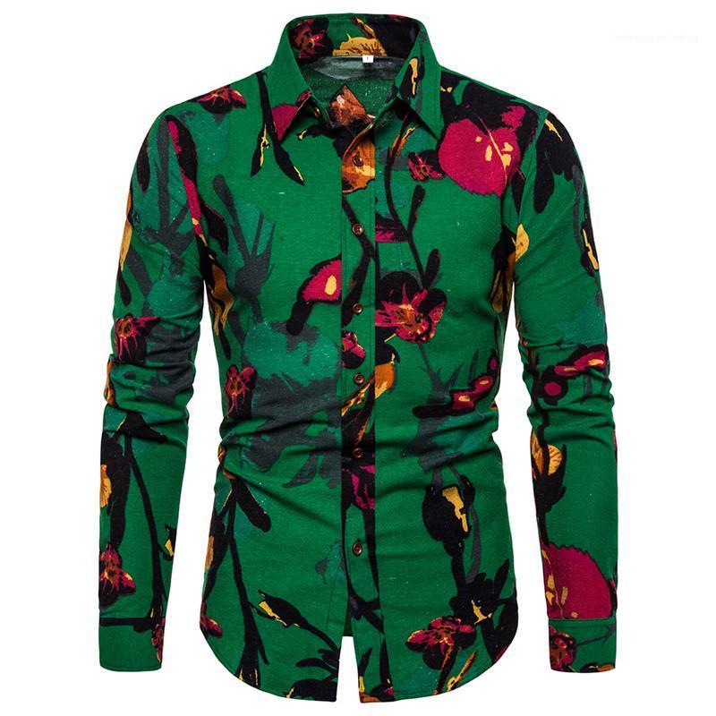 Camicie Designer Camicie Moda a maniche lunghe monopetto Mens casuali risvolto collo Maschi Abbigliamento stampa floreale Mens