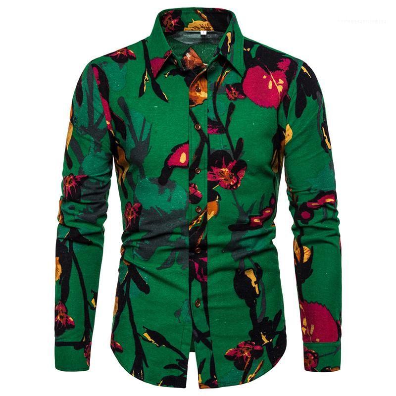 Tasarımcı Gömlek Moda Uzun Kollu Tek Breasted Erkek Gömlek Casual Yaka Boyun Erkekler Giyim Çiçek Mens yazdır