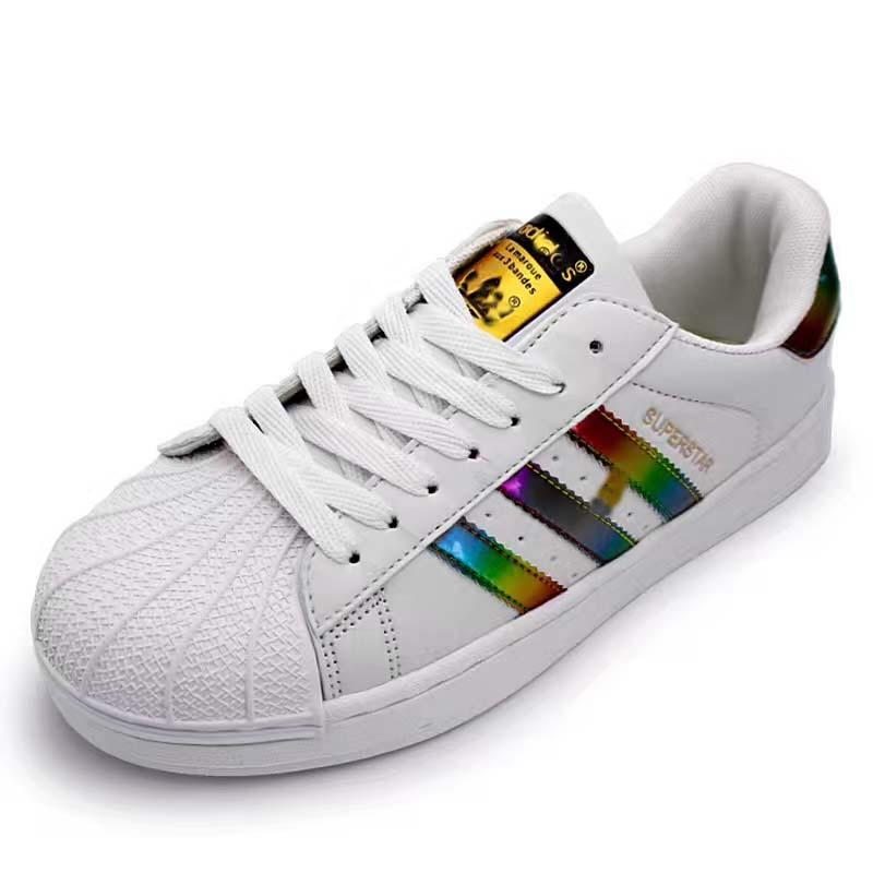 Schuhe der Männer 2019 für die Schuhe der Frauen weißer Schuh-Laser blenden Farbe-Superstar Shell-Kopf-beiläufige Schuhe Freies Verschiffen