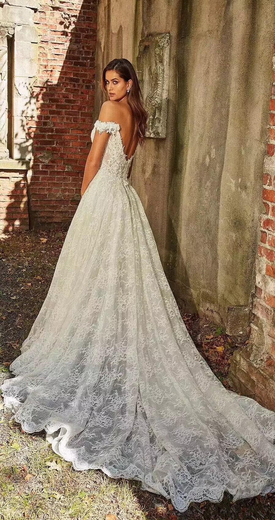 hot off the shoulder lace wedding dresses a line appliques with court train  long bridal gown sexy back wedding gowns alternative wedding dresses ball