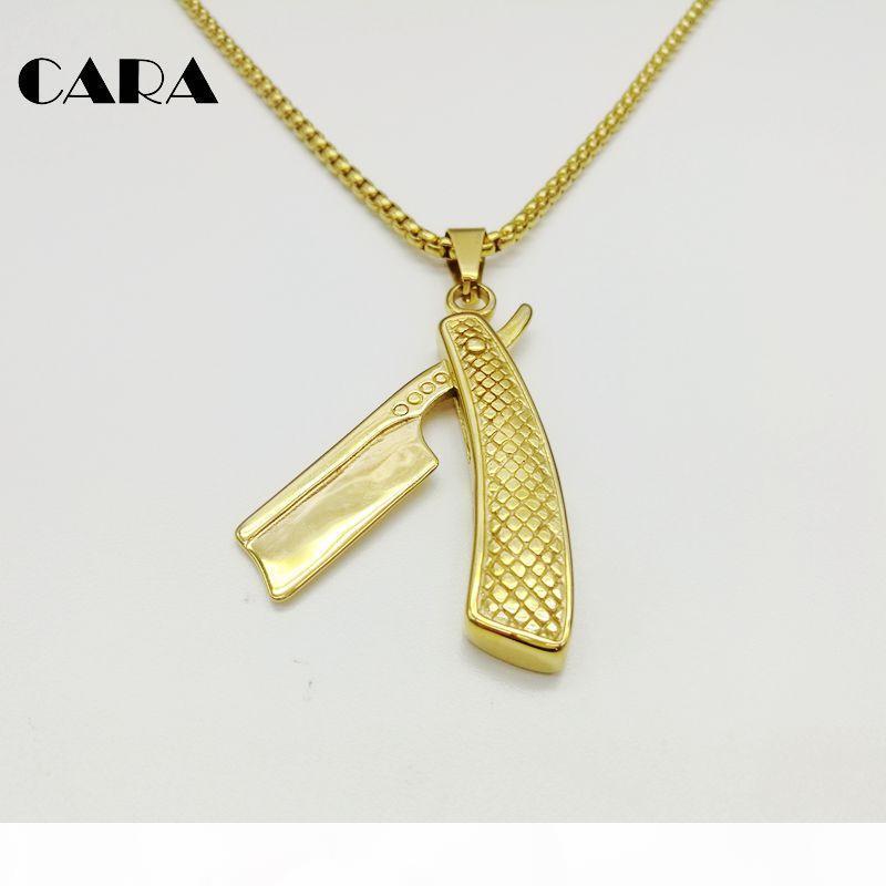 CARA 207 Nuovo acciaio inossidabile 316L hip hop coltello rasoio collana Baber Knife uomini Collana hip hop collana CARA0221