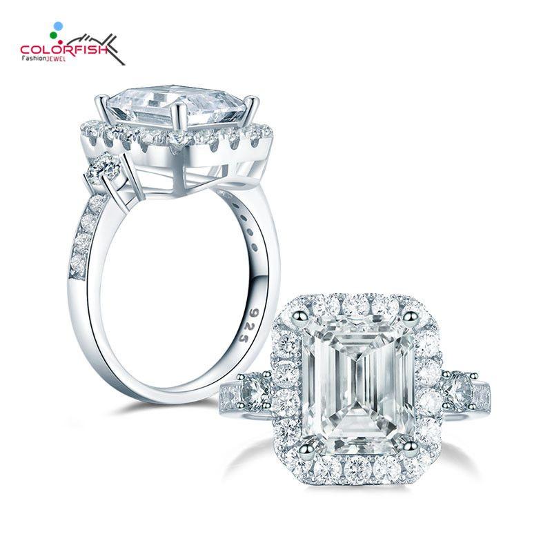 vendita all'ingrosso Luxury 4ct 925 Sterling Silver 3-pietra anello di fidanzamento per le donne Square Sona sintetico anniversario Halo nuziale anelli