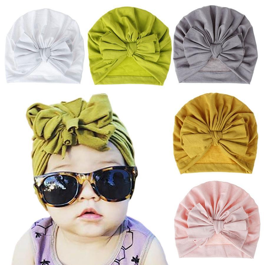 Nette Kinder Bogen-Hut-Mode Baby-Süßigkeit-Farben-Hut-Soft-Newborn Bowknot Kopftuch Kinder-Partei-Haar Accessorie TTA2011-3