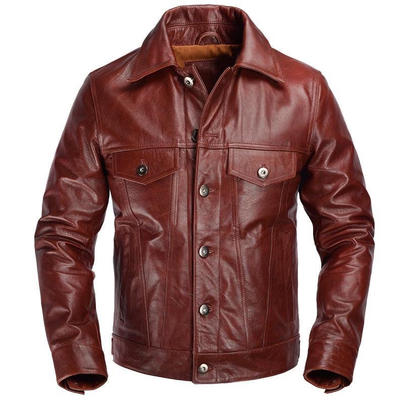 2020 Rosso Marrone americano Casual Jacket Leather Style monopetto Plus Size XXXL Genuine Natural pelle bovina Coat FREE SHIPPING