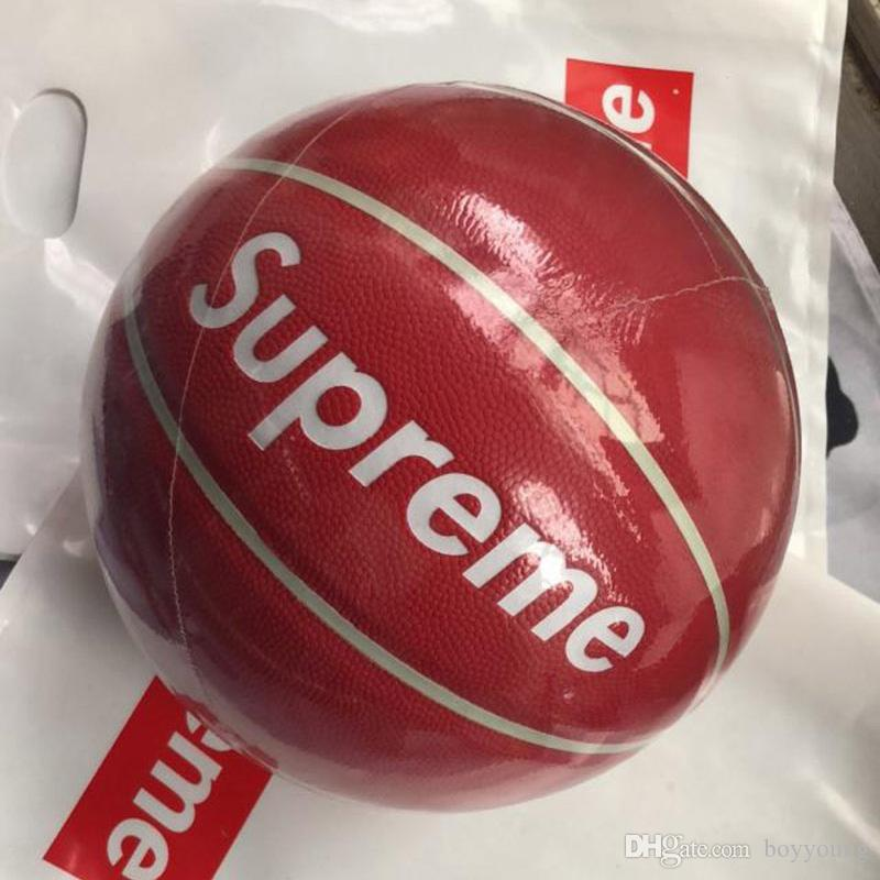 Clone Fashion Red Basketball limited edition NO.7 Fancy street Wear-resistant Leather student basketball ball for Men and Girl In stock