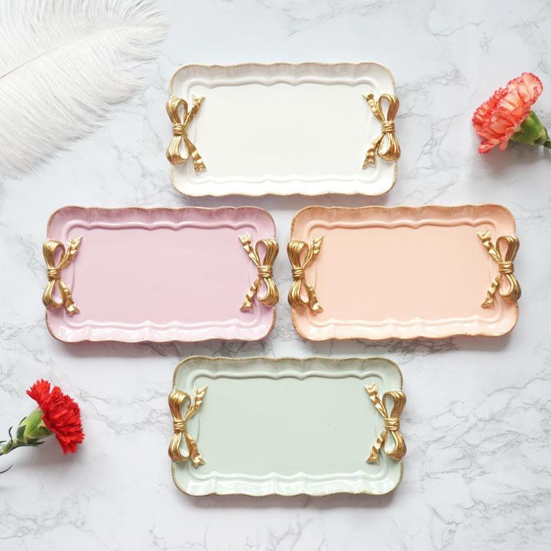 Avrupa tarzı kelebek sonuçları tepsi yaratıcı meyve tabağı kek raf kozmetik mücevher kutusu saklama süsler reçine