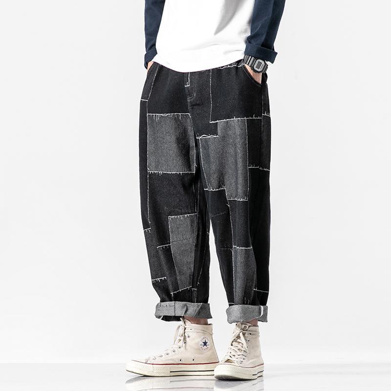 Men Patch Design Loose Casual Denim Ankle Length Harem Pant Male Japan Streetwear Hip Hop Jeans Trousers