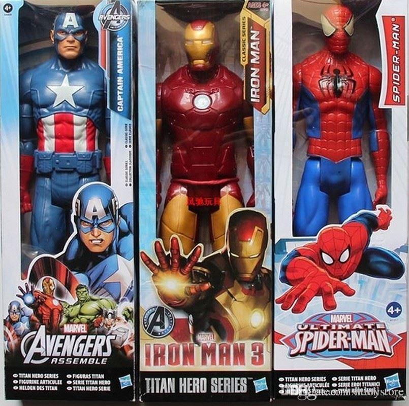 ht hxldoor Véritable Spiderman Marvel Avengers Assemble Titan héros Captain America PVC modèle 3D 12inch Figurine Doll jouets pour les enfants