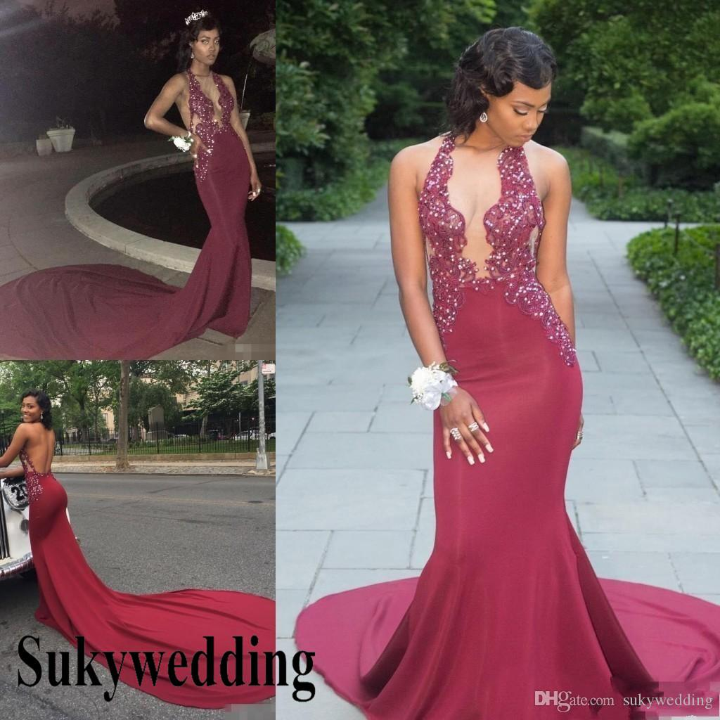 2019 Sexy Burgundy Prom Dresses Chiffon Party Gowns V Plunging Open Back Low Cut Pageant Gowns Beads African Pageant Evening Dresses