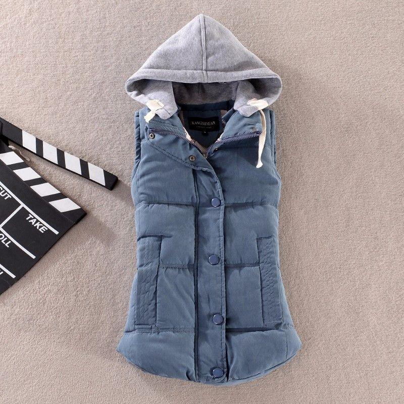 Nouveau Coton D'hiver Rembourré Gilet Femelle Femmes Sans Manches À Capuche Vestes Manteau Casual Femmes Gilet Gilet