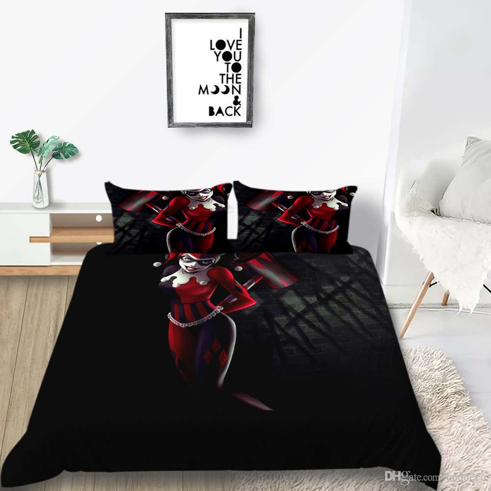 Клоун Пододеяльник красоты Модный Darkness 3D пододеяльник King Queen Single Double Twin Полная мягкая кровать Обложка с наволочкой