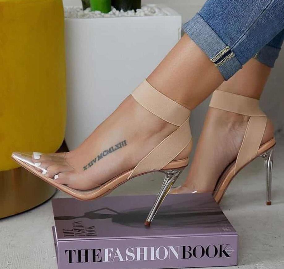 Plus size 35 a 40 41 42 elástico cruz cinta nus transparentes de PVC sapatos mulheres saltos claro alto luxo do desenhador vem com caixa