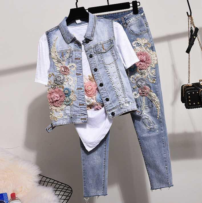 Jeans calças Set Mulheres Dois conjuntos de peças 2020 Primavera Outono New enchidas frisado bordados Vest Jeans Terno colete e