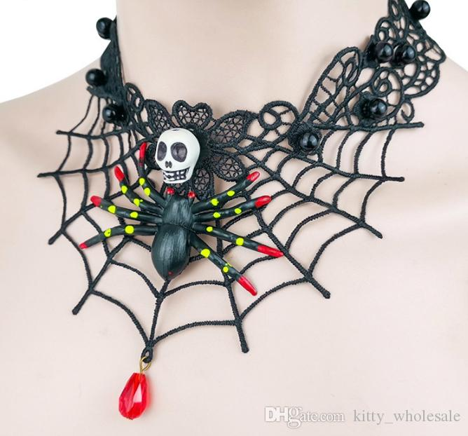Ladies Halloween Black Leather Cord Horror Spider Charm Choker Necklace Horror