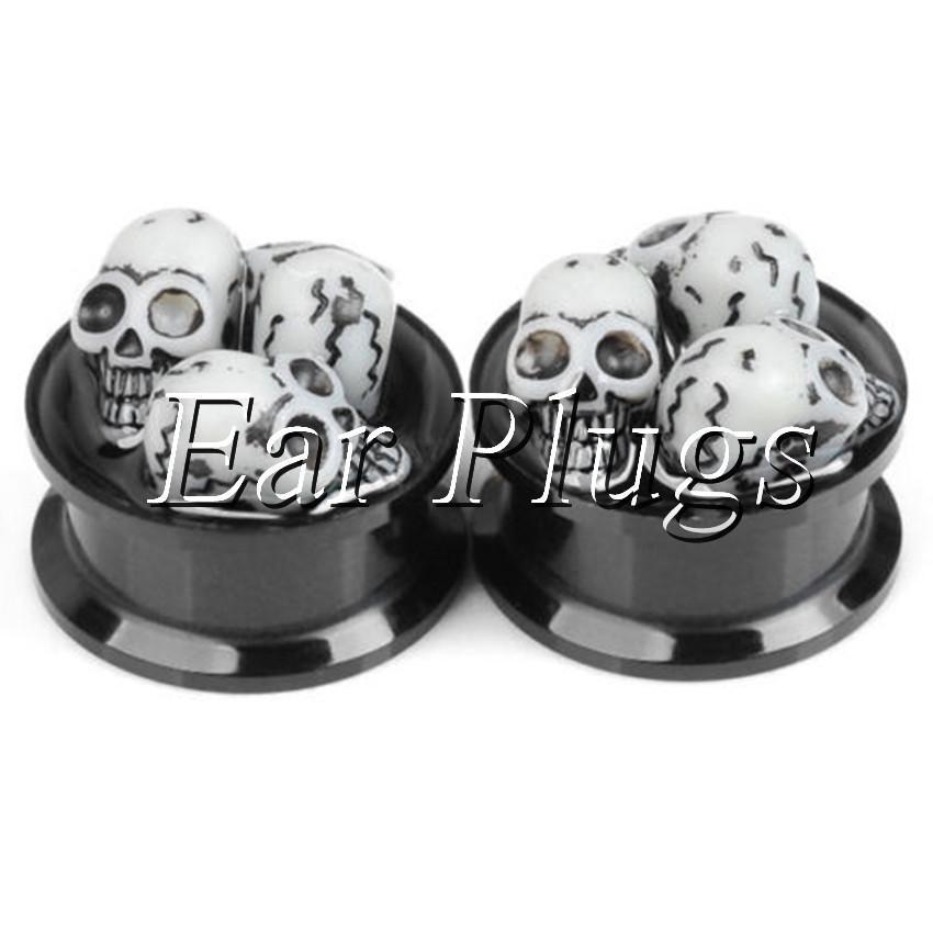 Venta al por mayor de resina cráneo Ear Gauge Plug acrílico Screw Fit Flesh Tunnel Body Piercing joyería tamaño 8mm-22mm
