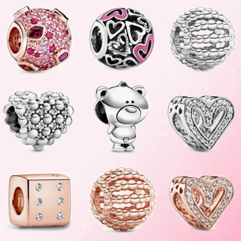 FAHMI 925 Sterling Argent 1: 1 2020 Valentine Jour dés charme Rose perlé ajouré Perle mousseux coeur à main levée perles baiser Ours charmes