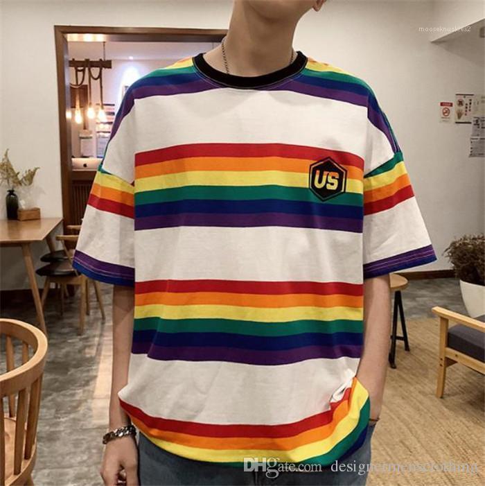 Mens TShirts Printed Black Loose Tops Rainbow O Neck Fifth Sleeve Mens Tees US Colorful Striped