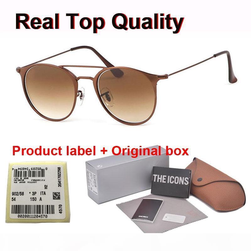 gradiente di qualità superiore di vetro dell'obiettivo del progettista di marca Occhiali da sole rotondi uomini donne struttura in metallo Sport Vintage occhiali da sole con il caso di vendita al dettaglio ed etichetta
