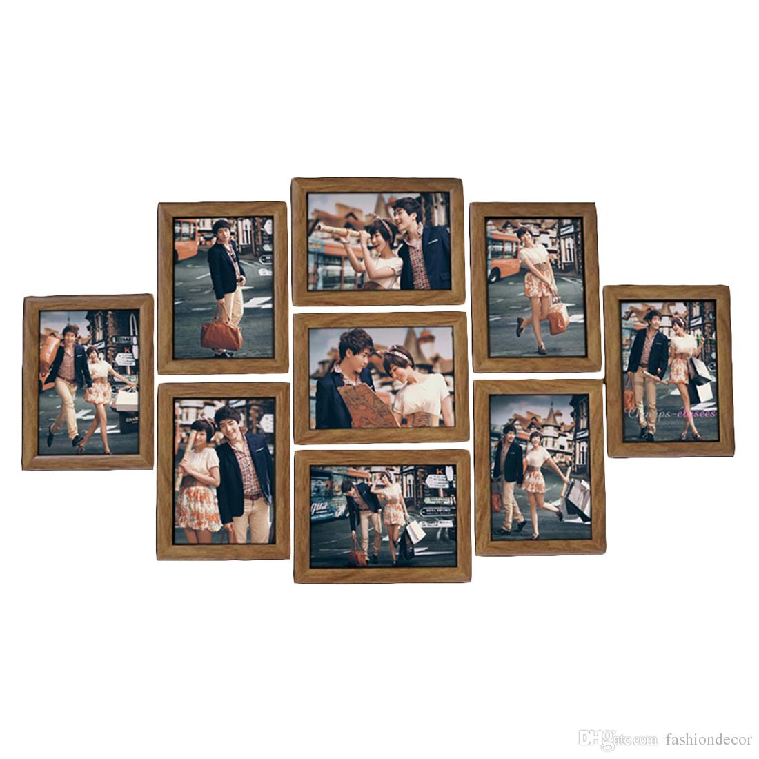 9Pcs/lot Picture Hanging Frames Wall Photo Frame Set 7-Inches Creative Wedding Photo Series Family photo frames for picture Wall Decor