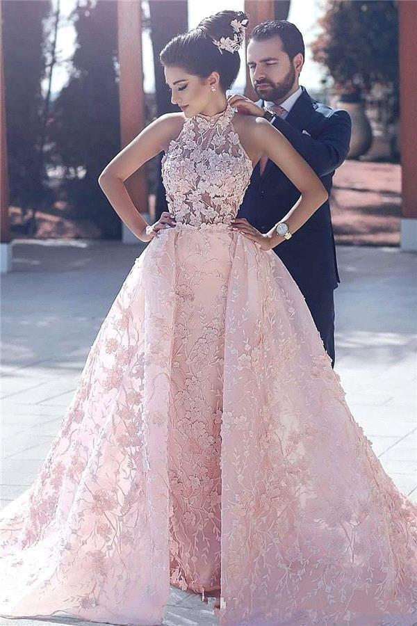 Бальное платье Пром платья High Neck розовый кружевной аппликацией 3D Цветочные цветы Вечерние Иллюзия Hollow Назад арабский Дубай Overskirts Long