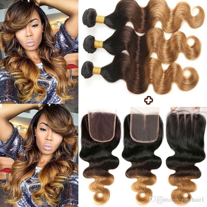 Ombre Human Hair Bundles With Closure Peruvian Body Wave 3 Bundles with Closure Virgin Hair T1b/4/27 Black Brown Blonde