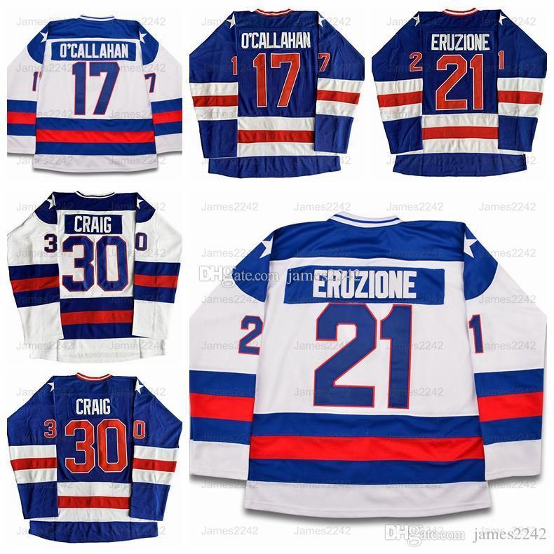 Expédition De Etats-Unis Mike Eruzione 21 Jack O'Callahan 17 Jim Craig 30 Miracle On Ice Team USA Hockey Jersey Bleu Blanc Cousu S-3XL