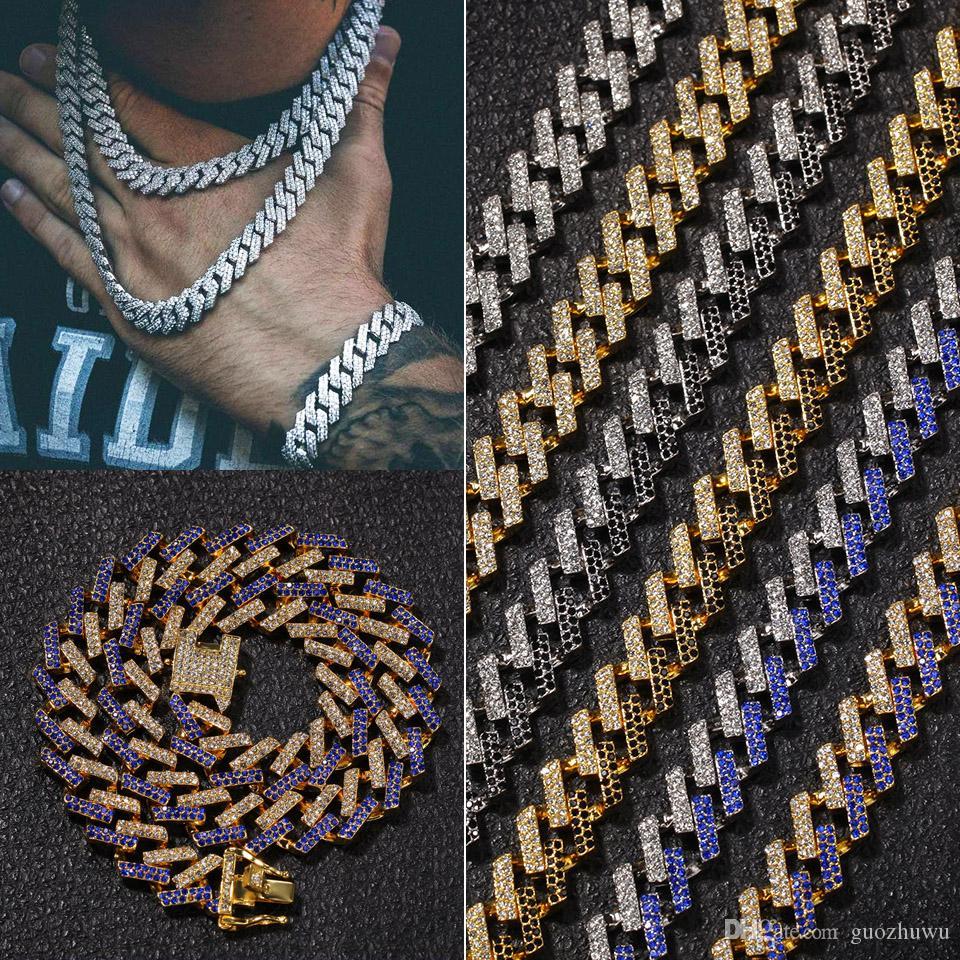 15мм 6 цветы персонализированного Золота Серебро Hip Hop Bling Алмазного кубинский Link цепь ожерелье для мужчин Майами Рэпер Bijoux Мужских Цепей ювелирных изделий
