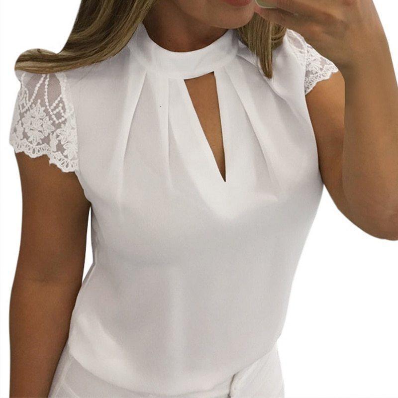 Frauen Bluse plus Größe Top Tops Spitzenbluse Sommer Short Sleeve Hohle Blusen-Hemden plus Größen 5Xl Chiffon Frauen Blusas Street