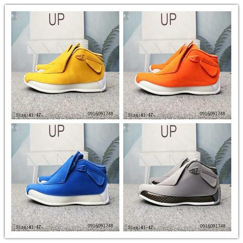 2019 18 18s Mens basketball shoes Grey Blue Yellow Orange Suede 18s Jumpman Sports Sneakers trainers Chaussures size 41-47