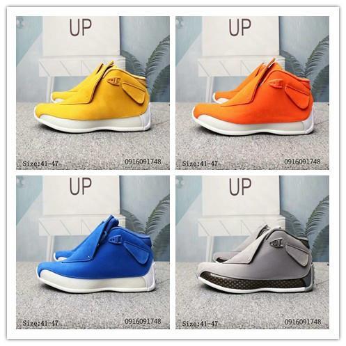 2019 18 18s zapatillas de baloncesto para hombre gris azul amarillo-naranja tamaño del ante 18s Jumpman Deportes zapatillas de deporte 41-47 Chaussures
