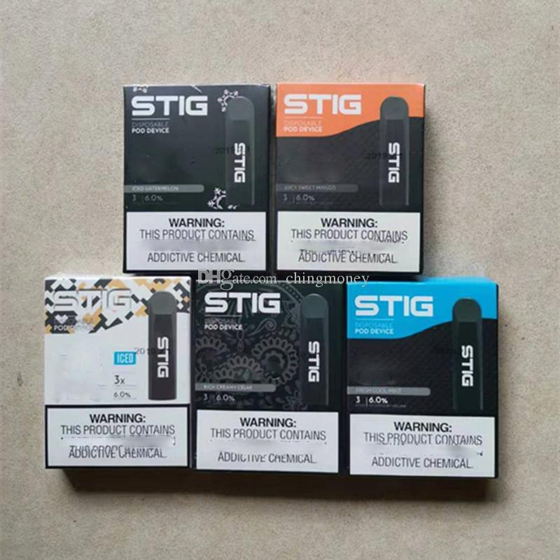 STIG Disposable Pod Device 270mAh Fully Charged Battery Vape Pen kit 1.2ml Cartridge Empty Disposable Pod Mod E Cigarette VS PUFF bar