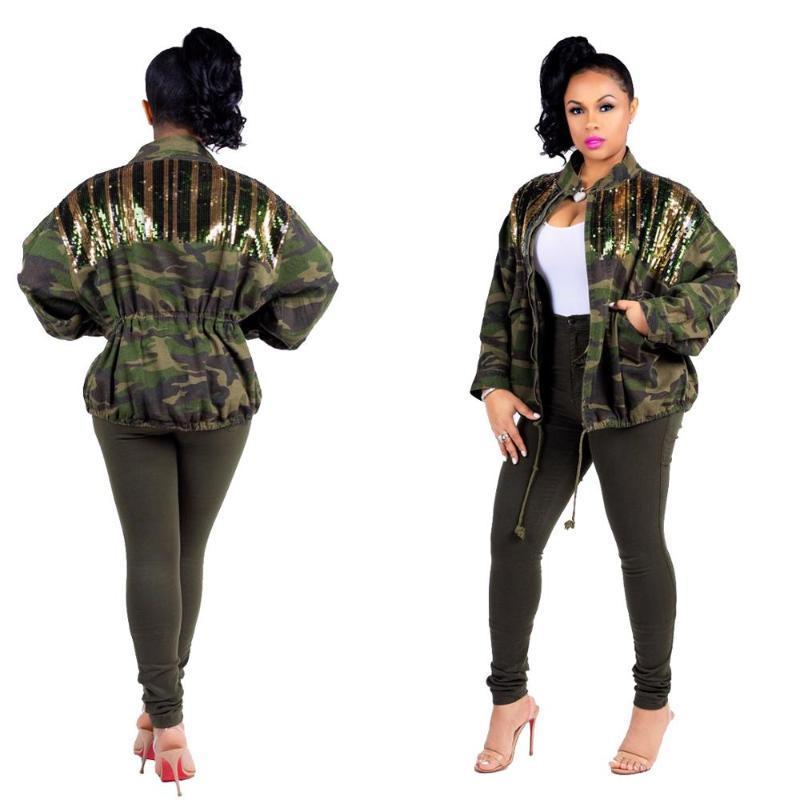 Женские куртки камуфляж джинсовая куртка сшивание блестки корсет дикий открытый многофункциональный ветровая одежда