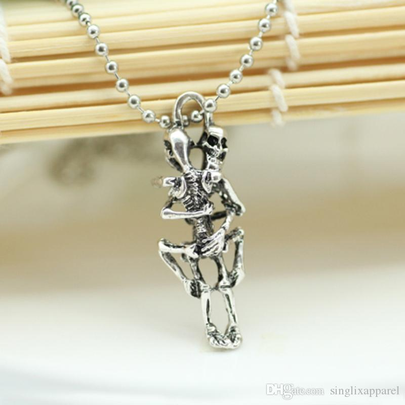 Silver Skeleton Halloween AccessoriesEven Death Must Be Love Theme Pendant Necklace Gothic Style Sweat Chain for Men