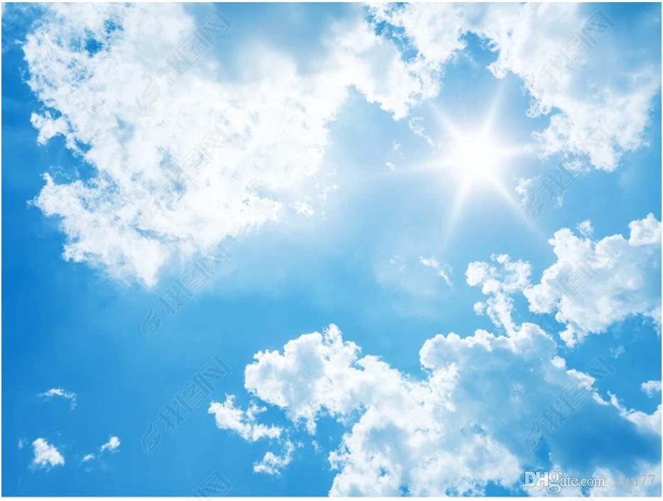 Papel de parede Özel 3D fotoğraf ipek duvar kağıdı HD 3D fantezi beyaz bulutlar mavi gökyüzü güneş zenith tavan duvar duvar çıkartmaları