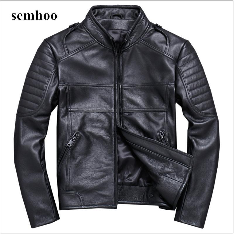Printemps Automne 100% Veste en cuir véritable pour hommes Vêtements d'hiver 2020 Streetwear Moto Biker naturel réel vache manteau en cuir 820