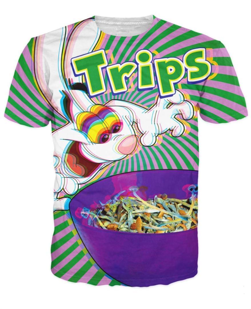 الرحلات ليست للأطفال تي شيرت Trippy حيوية تريكس الأحرف الصيف أزياء نمط T Shirt أعلى للنساء