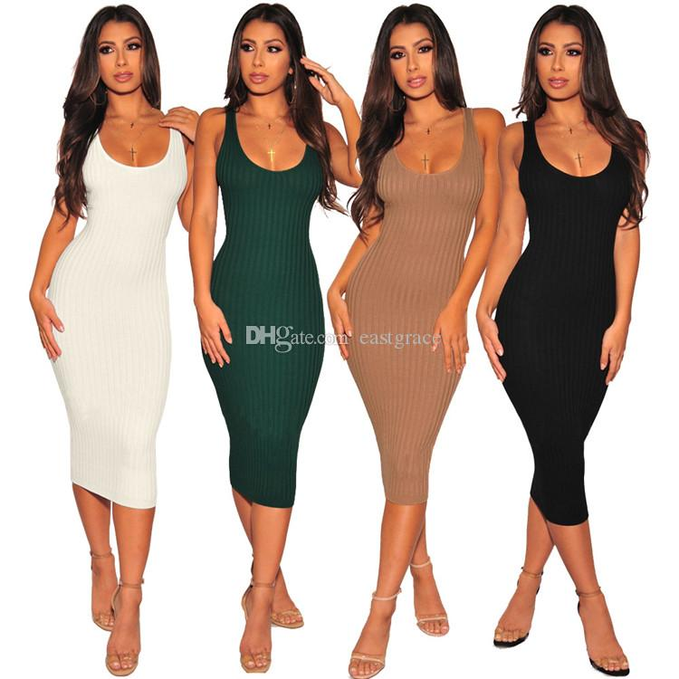 2019 Women Sundress Sexy Bodycon Dresses 4 Colors Knitted pit Cloth Women Summer Casual Dress Beach Dresses