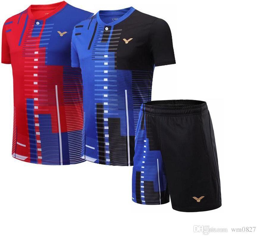 Los nuevos hombres / mujeres de Malasia competencia Victor bádminton camiseta de desgaste Nacional Equipo deportivo, de secado rápido bádminton camisas, pantalones cortos camisa de tenis