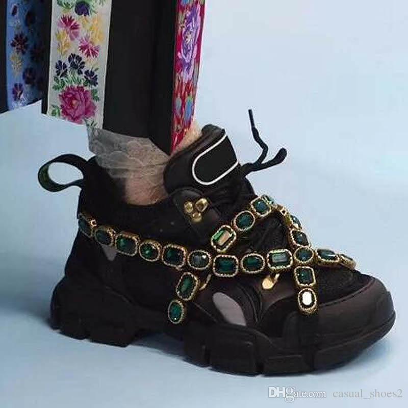 2020 nuevos zapatos de la zapatilla de deporte del estilo de mujer de los hombres de cuero genuino del Rhinestone Retro Calzado casual con suela gruesa de los zapatos corrientes de zw9 Hombres Mujeres