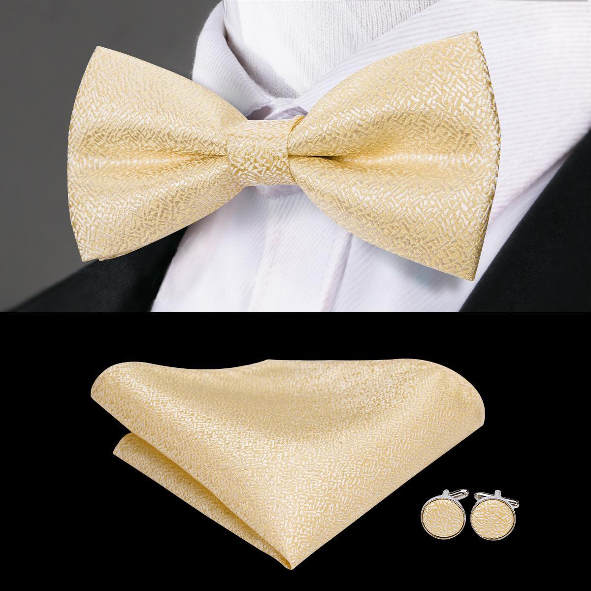 Brand Designer Gold Fashion Men's Bow Tie High Quality Silk Hand Woven Weddding Bowtie Handky Cufflinks Bowties LH-771