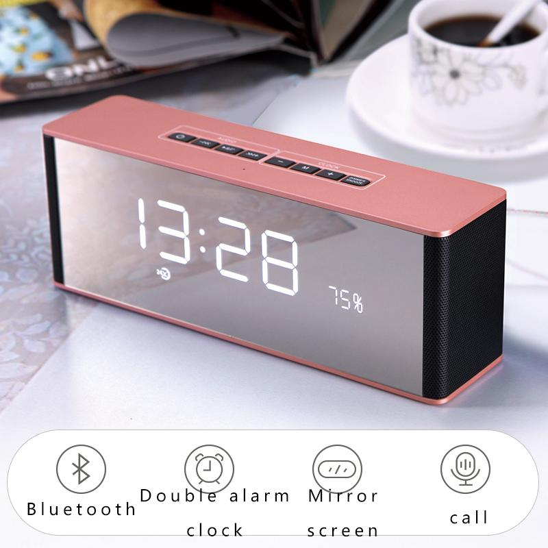 Bluetooth Speaker Led Display Modern Wireless Call Snooze Function Table Clock Digital Alarm Clock Radio Mirror Display
