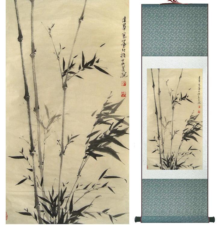 Pintura De Bambu Chiense Personagens E Flor Pintura Home Office Decoração Pintura De Rolagem Chinesa 041207